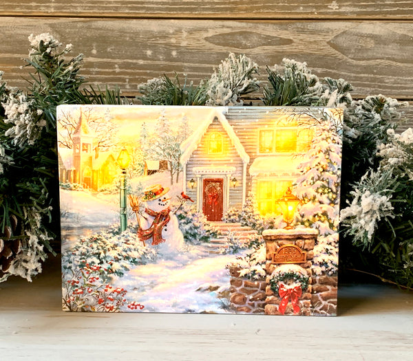 Silent Night Lane - Lighted Tabletop Canvas 8x6
