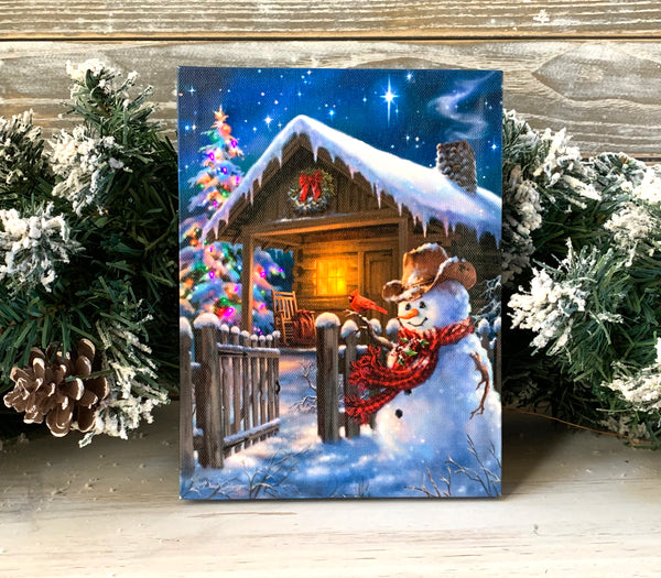 MINI LIGHTED EASEL BACK 8x6 CHRISTMAS CABIN