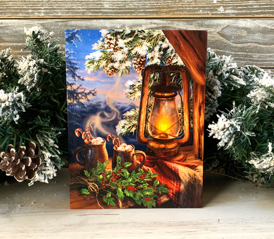 Hot Cocoa - Lighted Tabletop Canvas 8x6