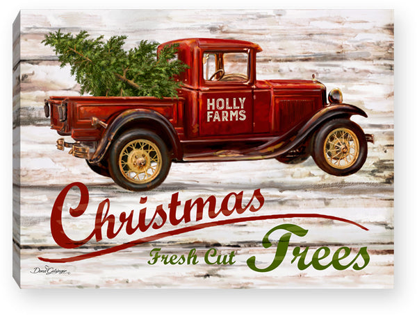 Red Truck Christmas - Lighted Tabletop Canvas 8x6