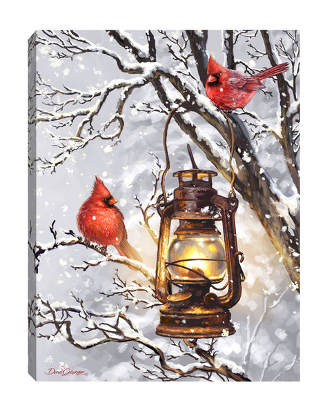 MINI LIGHTED EASEL BACK 8x6 COZY CARDINALS