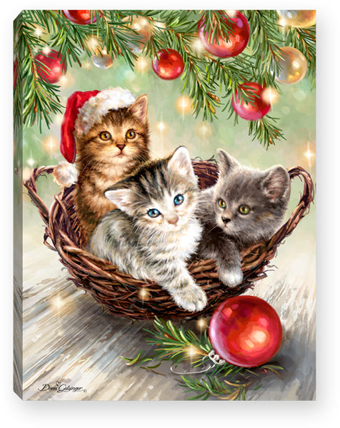 Christmas Kittens - Lighted Tabletop Canvas 8x6