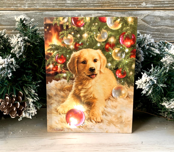 Christmas Puppy - Lighted Tabletop Canvas 8x6