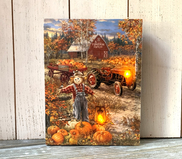 Pumpkin Patch - Lighted Tabletop Canvas 8x6