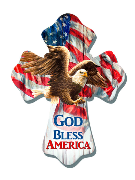 """God Bless America"" 6""x8"" Cross"