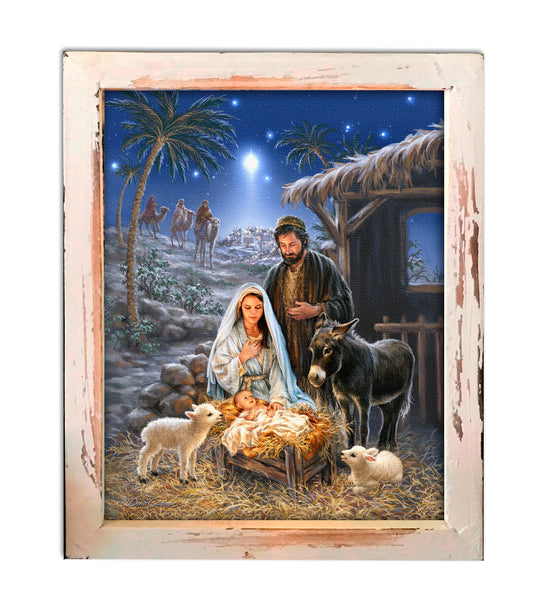 """A Savior is Born"" LED Lighted Shadow Box"