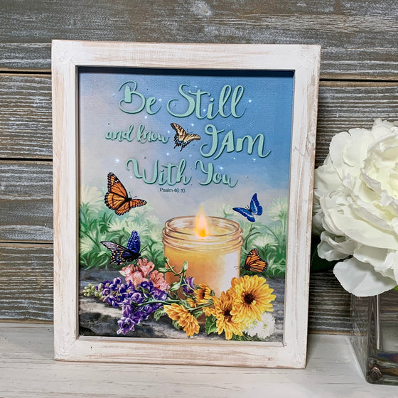 I Am With You Fiber Optic LED Lighted Canvas Shadow Box