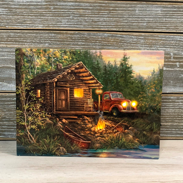 MINI LIGHTED EASEL BACK 8x6 CABIN LIFE