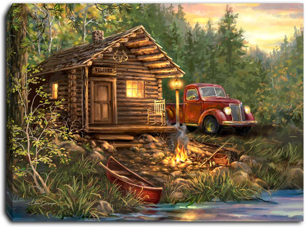 Cabin Life - Lighted Tabletop Canvas 8x6