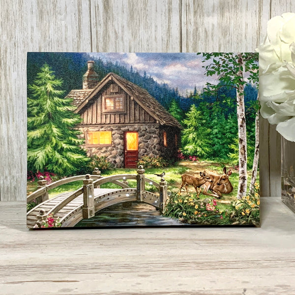 The Cottage - Lighted Tabletop Canvas 8x6