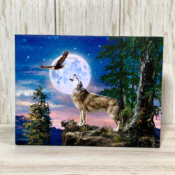 MINI LIGHTED EASEL BACK 8x6 WOLF MOON