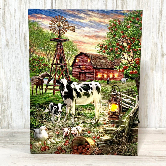 Old Country Farm - Lighted Tabletop Canvas 8x6