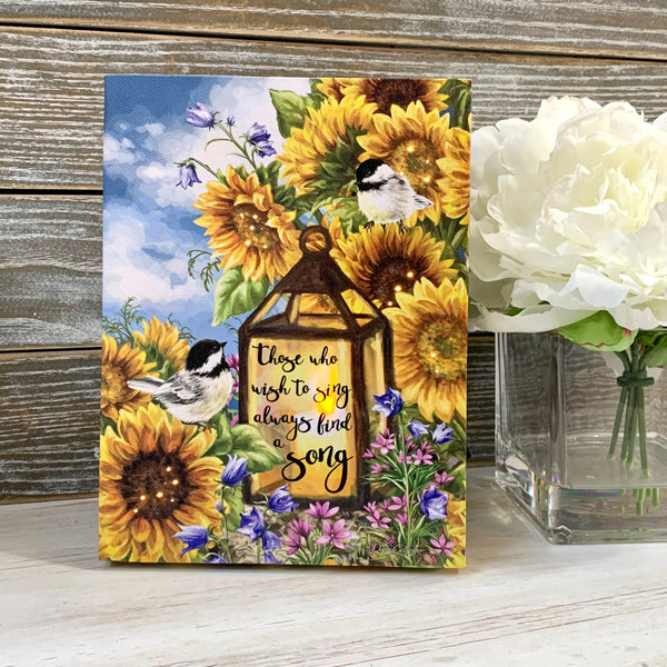 Sunflower Friends - Lighted Tabletop Canvas 8x6