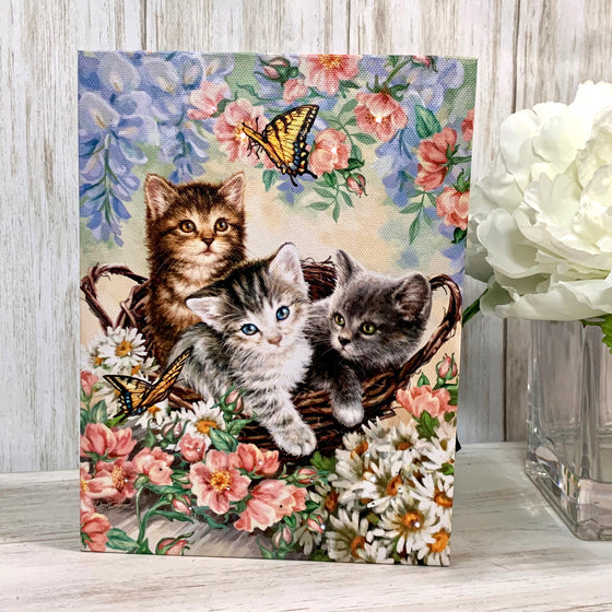 Kittens in the Garden - Lighted Tabletop Canvas 8x6