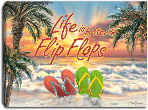Flip Flops - Lighted Tabletop Canvas 8x6