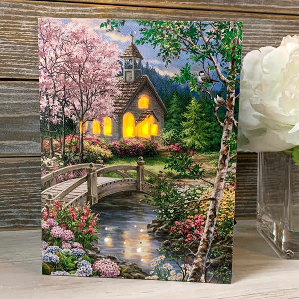 Spring Chapel - Lighted Tabletop Canvas 8x6