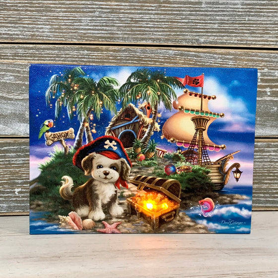 Puppy Pirate - Lighted Tabletop Canvas 8x6