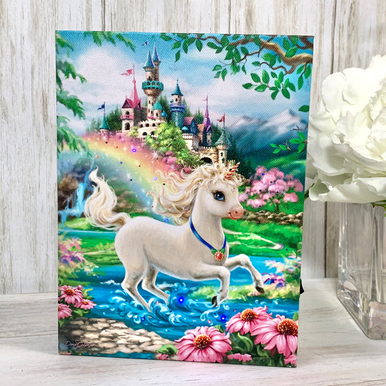 Unicorn Princess - Lighted Tabletop Canvas 8x6