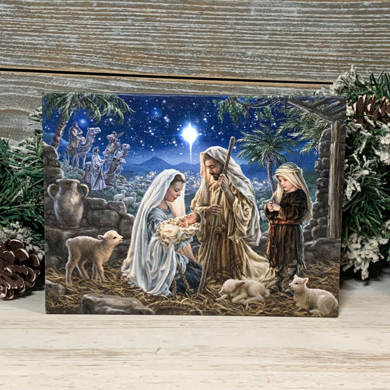 Let us Adore Him - Lighted Tabletop Canvas 8x6