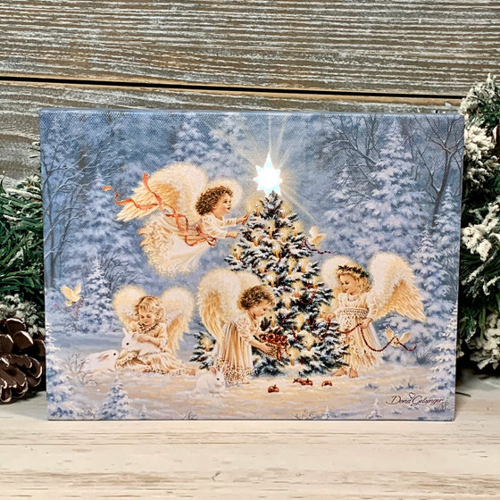 Silent Night Gentle Light - Lighted Tabletop Canvas 8x6