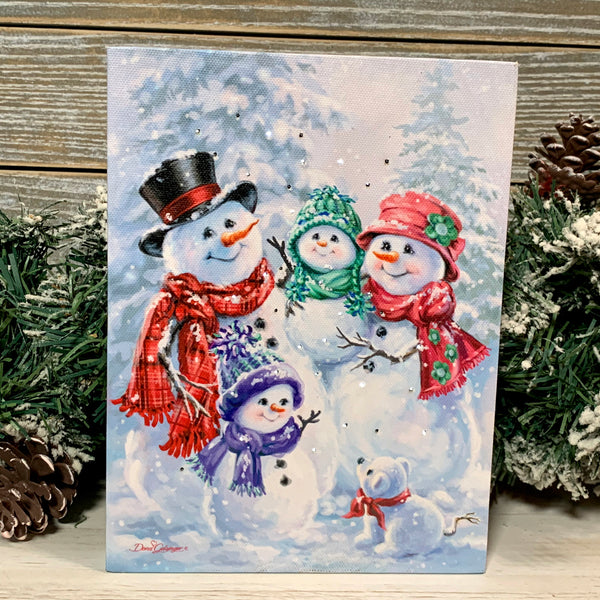Snow Family - Lighted Tabletop Canvas 8x6