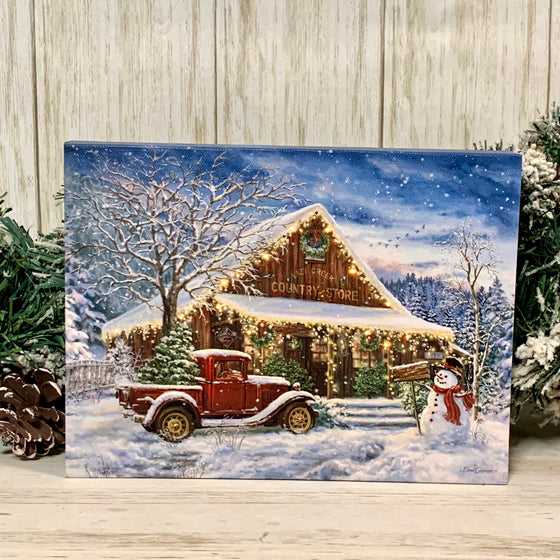 MINI LIGHTED EASEL BACK 8x6 COUNTRY STORE CHRISTMAS