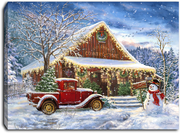 Country Store Christmas - Lighted Tabletop Canvas 8x6