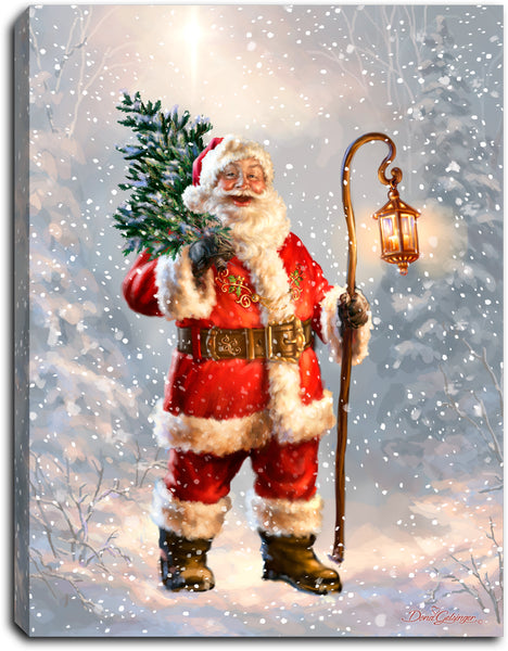 Father Christmas - Lighted Tabletop Canvas 8x6