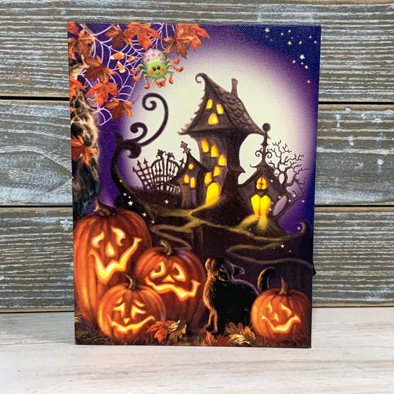 MINI LIGHTED EASEL BACK 8x6 HAUNTED HOUSE