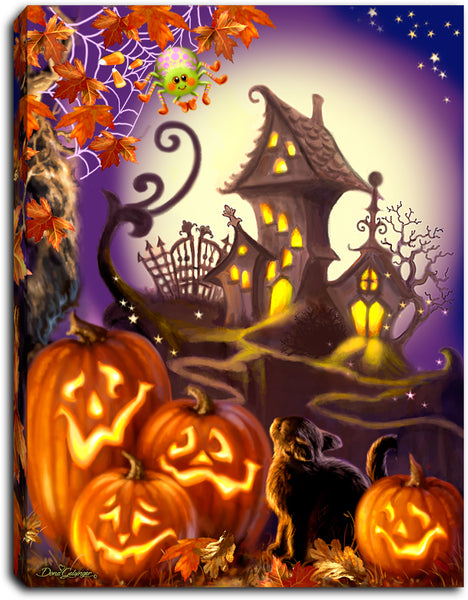 Haunted House - Lighted Tabletop Canvas 8x6