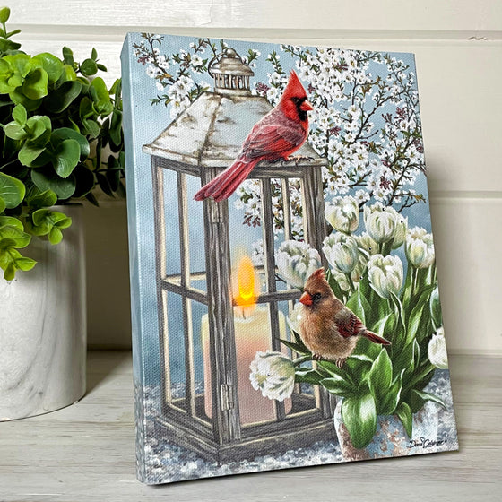 Sweet Cardinals - Lighted Tabletop Canvas 8x6