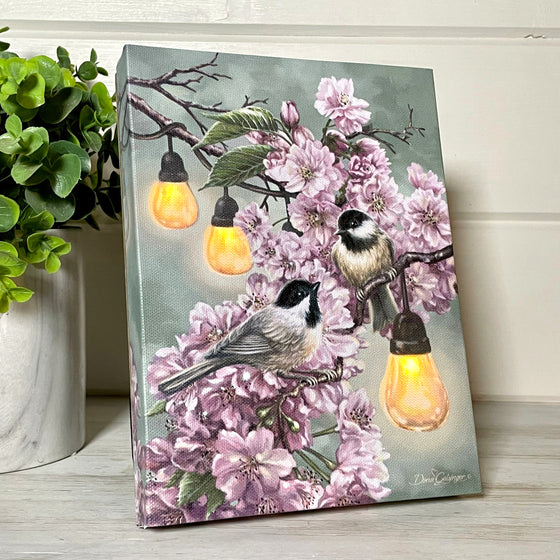 Cherry Blossom Birds - Lighted Tabletop Canvas 8x6
