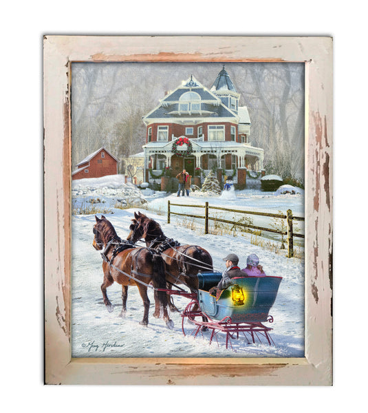 Sleigh Ride LED Lighted Shadow Box