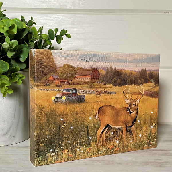 Deer in the Meadow - Lighted Tabletop Canvas 8x6