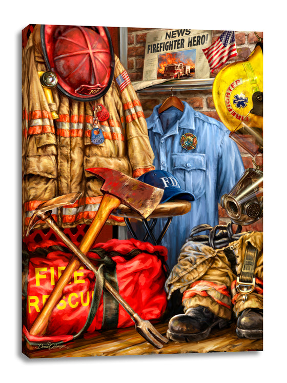 Firefighter Canvas Wall Art