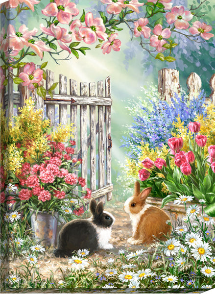 Blossoms and Bunnies Canvas Wall Art