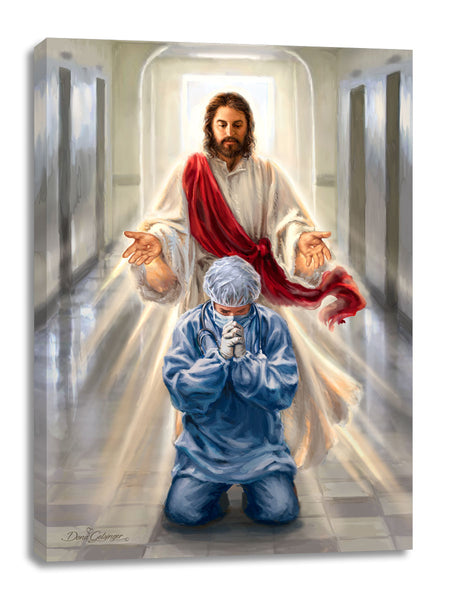 Merciful Jesus Bless our Healthcare Heroes Canvas Wall Art