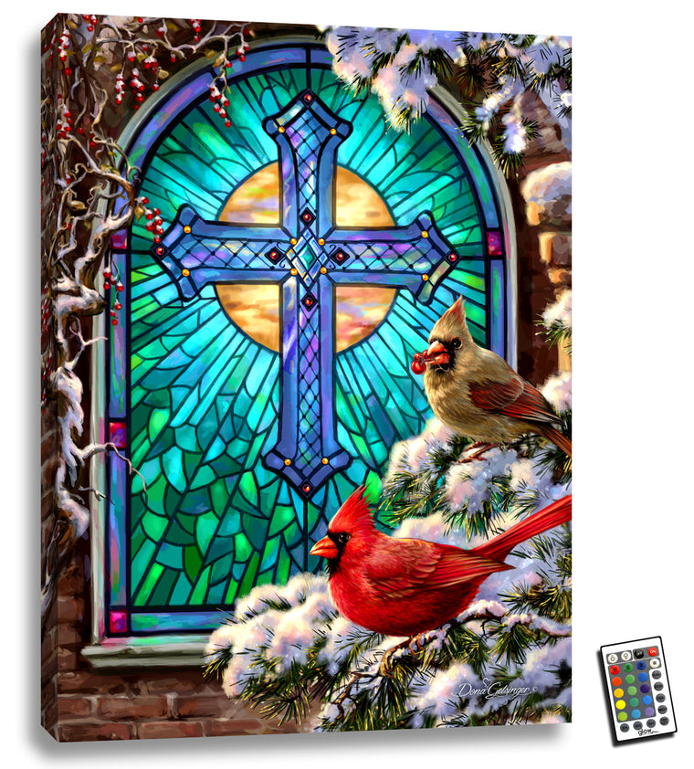 Cardinals Stained Glass - Illuminated Fine Art