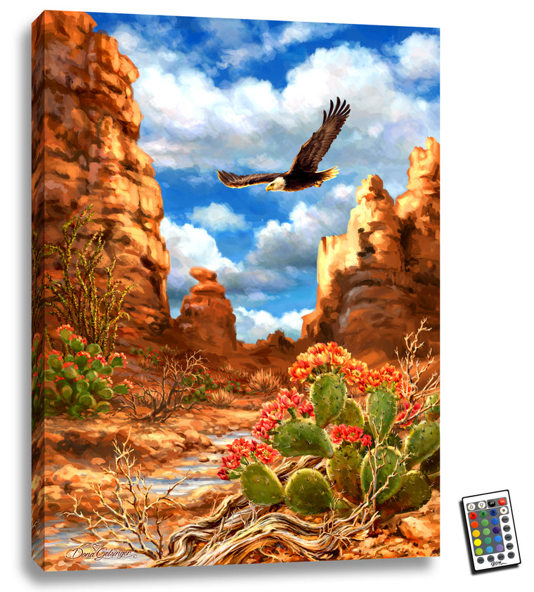 Red Rock Eagle - Illuminated Fine Art
