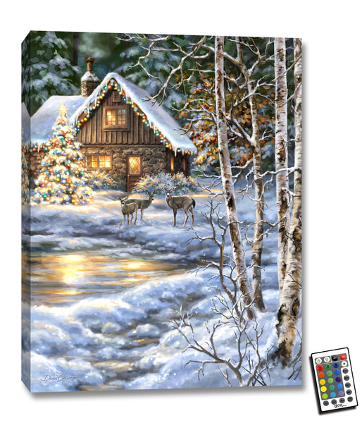 Christmas at the Cabin - Illuminated Fine Art