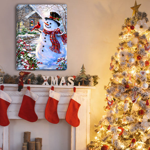 Snowman and Feathered Friend - Illuminated Fine Art