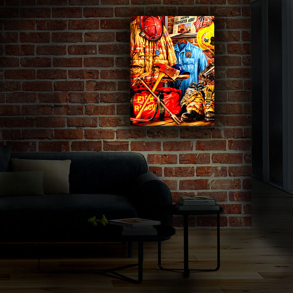 Hometown Hero Firefighter - Illuminated Fine Art