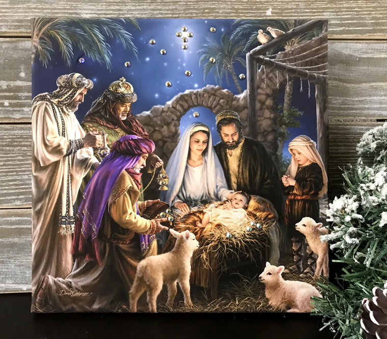 The Nativity Pizazz Print with Genuine Swarovski Crystals
