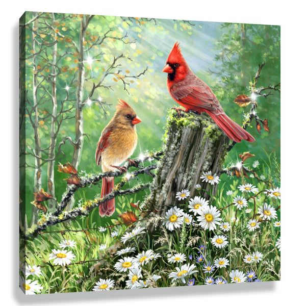 Cardinals In The Meadow Pizazz Print with Genuine Swarovski Crystals