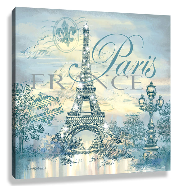 Paris Pizazz Print with Aurora Borealis Crystals