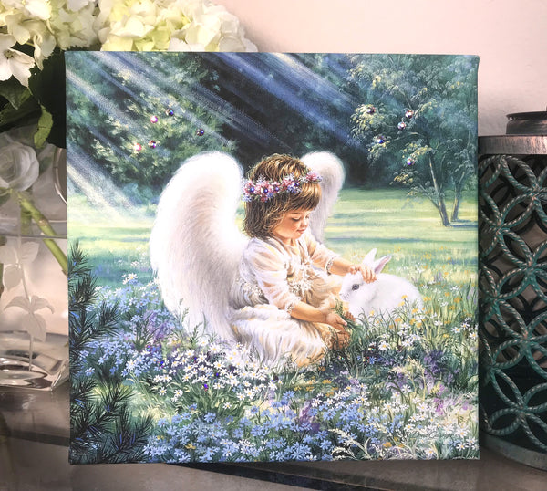 An Angel's Care Pizazz Print with Aurora Borealis Crystals