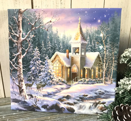 Christmas Chapel Pizazz Print with Aurora Borealis Crystals