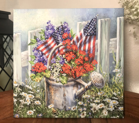 Patriotic Garden Pizazz Print with Genuine Swarovski Crystals