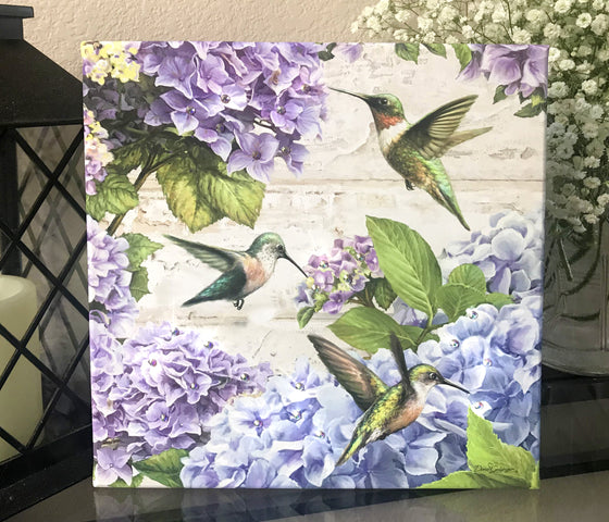 Hummingbirds Pizazz Print with Genuine Swarovski Crystals