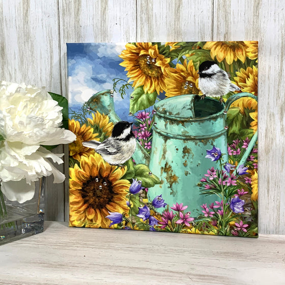 Sunflower Garden Pizazz Print with Genuine Swarovski Crystals